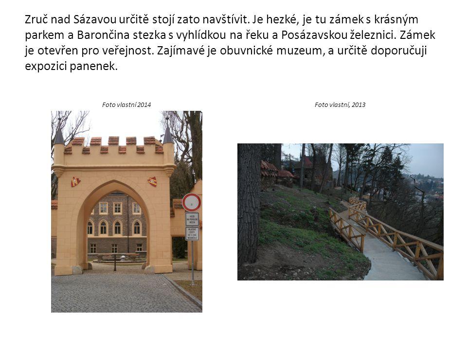 Zruč nad Sázavou určitě stojí zato navštívit. Je hezké, je tu zámek s krásným parkem a Barončina stezka s vyhlídkou na řeku a Posázavskou železnici. Z