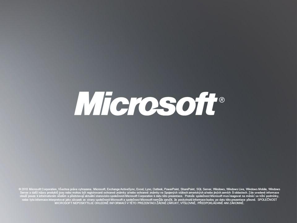 Z PĚT NA CÍLE Z PĚT NA CÍLE © 2010 Microsoft Corporation. Všechna práva vyhrazena. Microsoft, Exchange ActiveSync, Excel, Lync, Outlook, PowerPoint, S