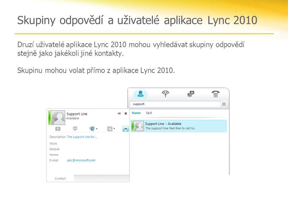 Skupiny odpovědí a uživatelé aplikace Lync 2010 Druzí uživatelé aplikace Lync 2010 mohou vyhledávat skupiny odpovědí stejně jako jakékoli jiné kontakt