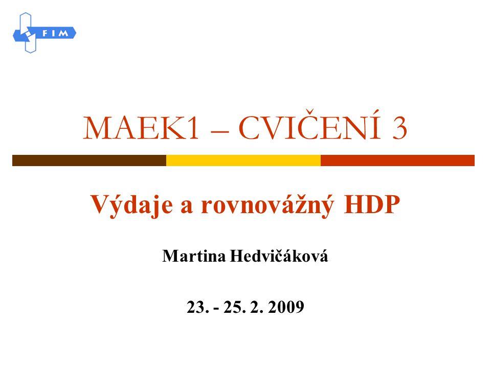 MAEK1 – CVIČENÍ 3 Výdaje a rovnovážný HDP Martina Hedvičáková 23. - 25. 2. 2009