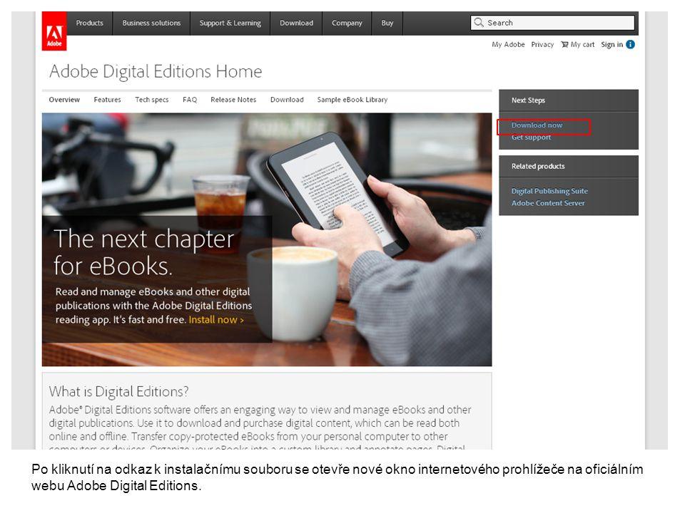 Po kliknutí na odkaz k instalačnímu souboru se otevře nové okno internetového prohlížeče na oficiálním webu Adobe Digital Editions.
