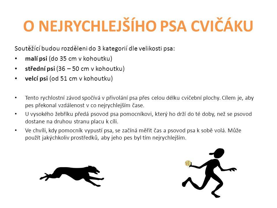 O NEJRYCHLEJŠÍHO PSA CVIČÁKU Soutěžící budou rozděleni do 3 kategorií dle velikosti psa: malí psi (do 35 cm v kohoutku) střední psi (36 – 50 cm v koho