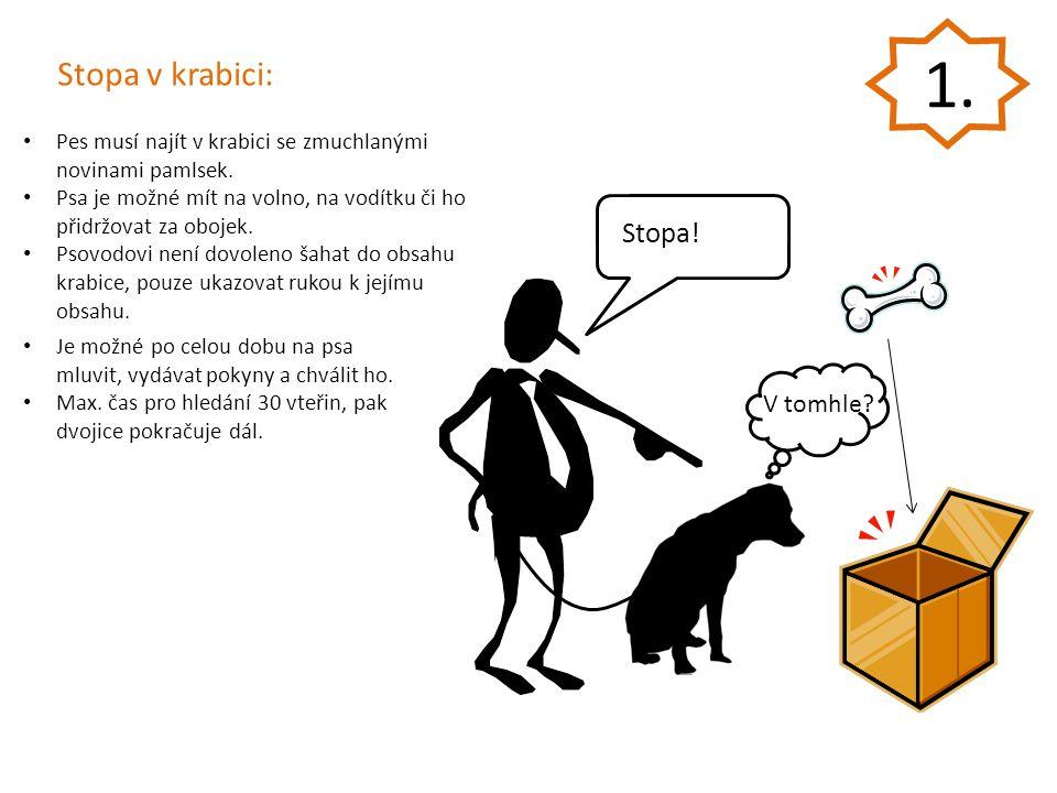 Stopa v krabici: Pes musí najít v krabici se zmuchlanými novinami pamlsek. Psa je možné mít na volno, na vodítku či ho přidržovat za obojek. Psovodovi