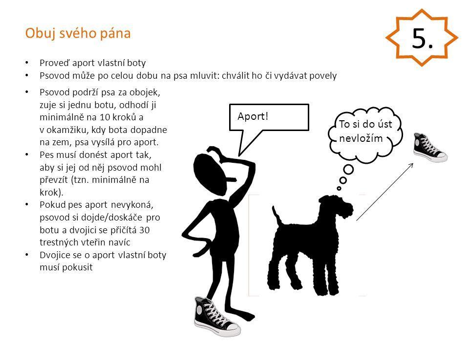 Obuj svého pána Aport! Proveď aport vlastní boty Psovod může po celou dobu na psa mluvit: chválit ho či vydávat povely Psovod podrží psa za obojek, zu