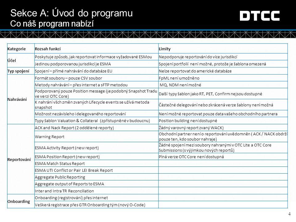 © DTCC 5 Sekce B: Onboarding a přístup Abyste mohli používat DTCC OTCLite aplikaci, budete se muset nejdřív zaregistrovat u DTCC GTR Pokud již využíváte služby DTCC nebo GTR proces registrace bude jednodušší, ale stejně budeme potřebovat doplňující informace, abychom mohli vytvořit přístup k OTCLite Jakmile se zaregistrujete, dostanete přístup do testovací verze i do produkce GTR On-boarding team můžete kontaktovat následujícími způsoby: –E-mailem : GTR_Onboarding@dtcc.comGTR_Onboarding@dtcc.com –Telefonicky: +44 (0) 207 136 6328 (option 2 and 2) –Dokumenty a návody týkající se On-boarding můžete najít na webové stránce OTCLite Jakmile budete zaregistrovaní, dostanete Account Number –Toto číslo dostane každá zaregistrovaná společnost a bude si ke svému účtu moci připojit jakýkoliv produkt DTCC Jakmile budete mít vytvořený účet u DTCC obdržíte OCODE pro každý z produktů, který připojíte ke svému účtu –OTCLite je jedním z produktů, které můžete ke svému účtu připojit.