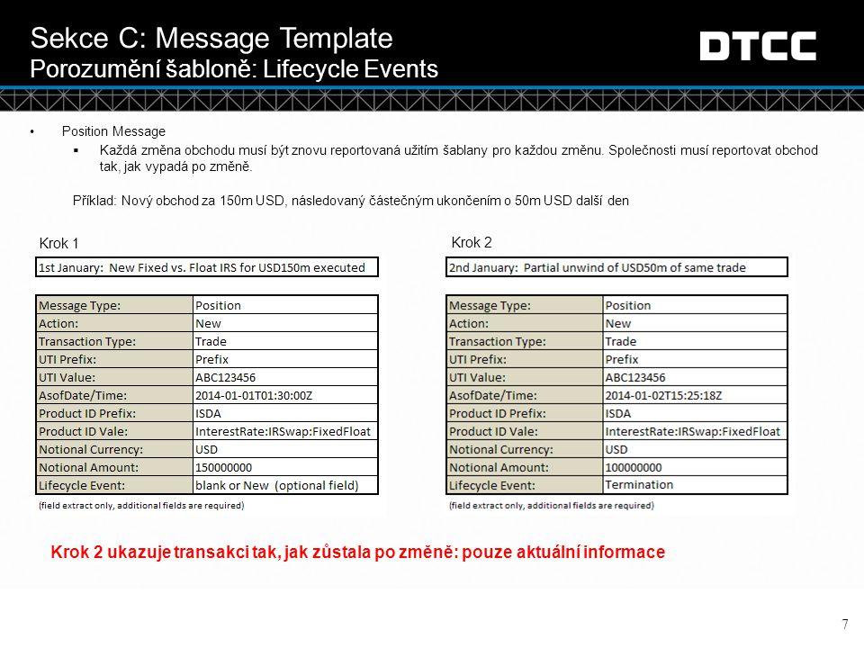 © DTCC Sekce C: Message Template Porozumění šabloně : Příklady polí 8 Extrakt z šablony určený k představení jednotlivých typů polí a informací v nich Doplňující prezentace bude zahrnovat vysvětlení šablony a jednotlivých polí.