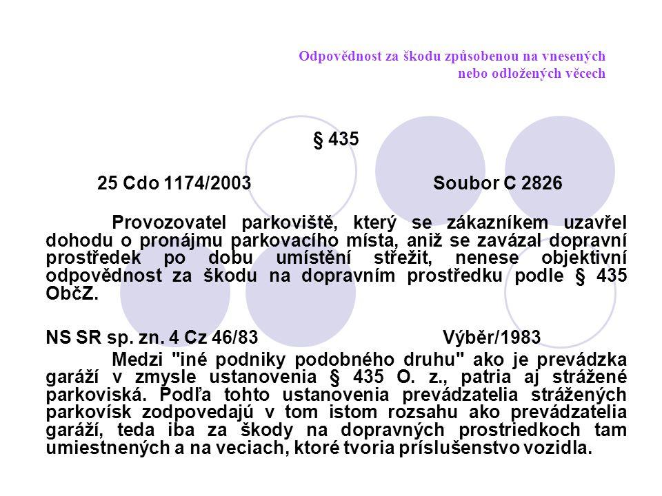 Odpovědnost za škodu způsobenou na vnesených nebo odložených věcech § 435 25 Cdo 1174/2003 Soubor C 2826 Provozovatel parkoviště, který se zákazníkem