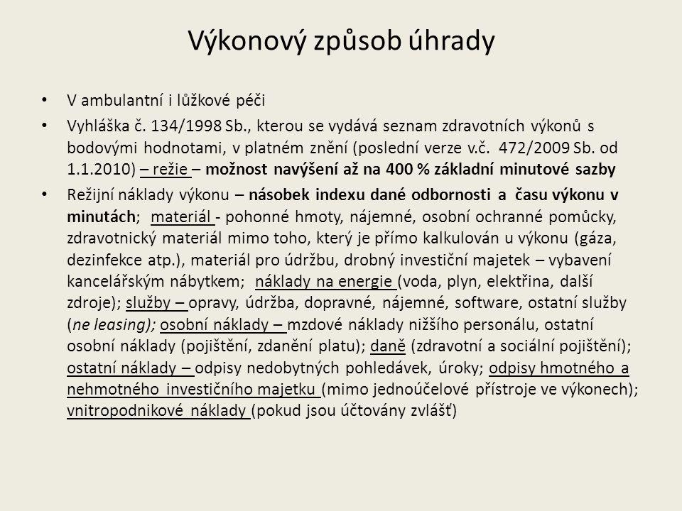 Výkonový způsob úhrady V ambulantní i lůžkové péči Vyhláška č. 134/1998 Sb., kterou se vydává seznam zdravotních výkonů s bodovými hodnotami, v platné