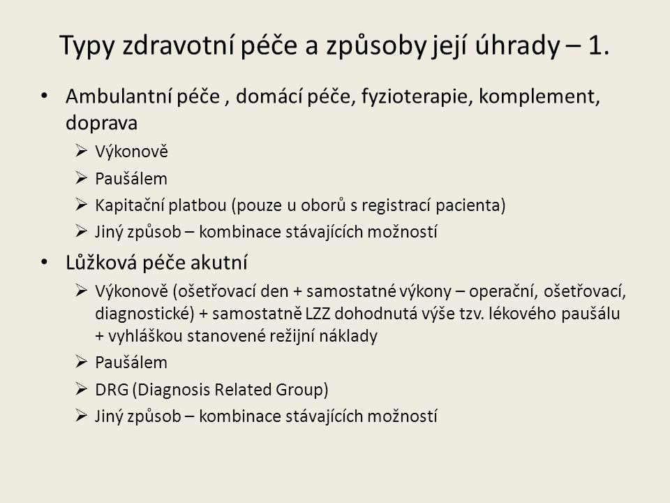 Typy zdravotní péče a způsoby její úhrady – 2.