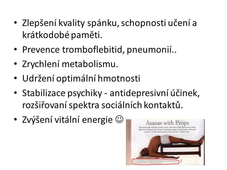 Zlepšení kvality spánku, schopnosti učení a krátkodobé paměti. Prevence tromboflebitid, pneumonií.. Zrychlení metabolismu. Udržení optimální hmotnosti