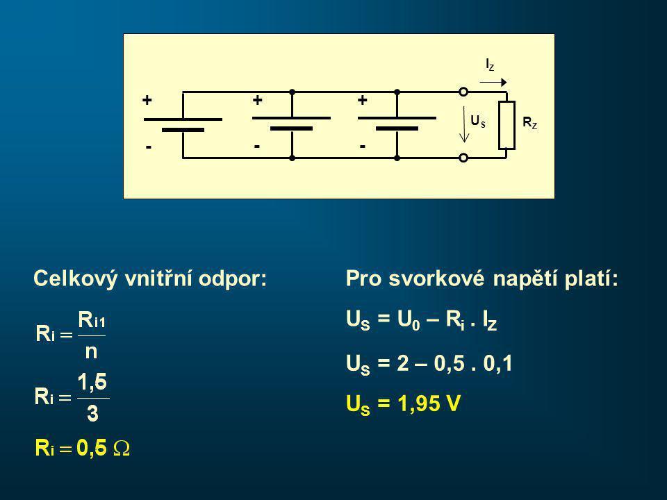 Pro svorkové napětí platí: U S = U 0 – R i. I Z Celkový vnitřní odpor: U S = 2 – 0,5.