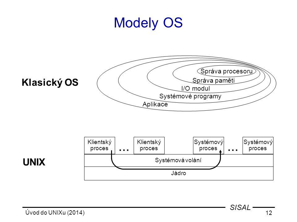 Úvod do UNIXu (2014) 12 SISAL... Modely OS Systémový proces Systémová volání Klientský proces Systémový proces... UNIX Správa procesoru Správa paměti