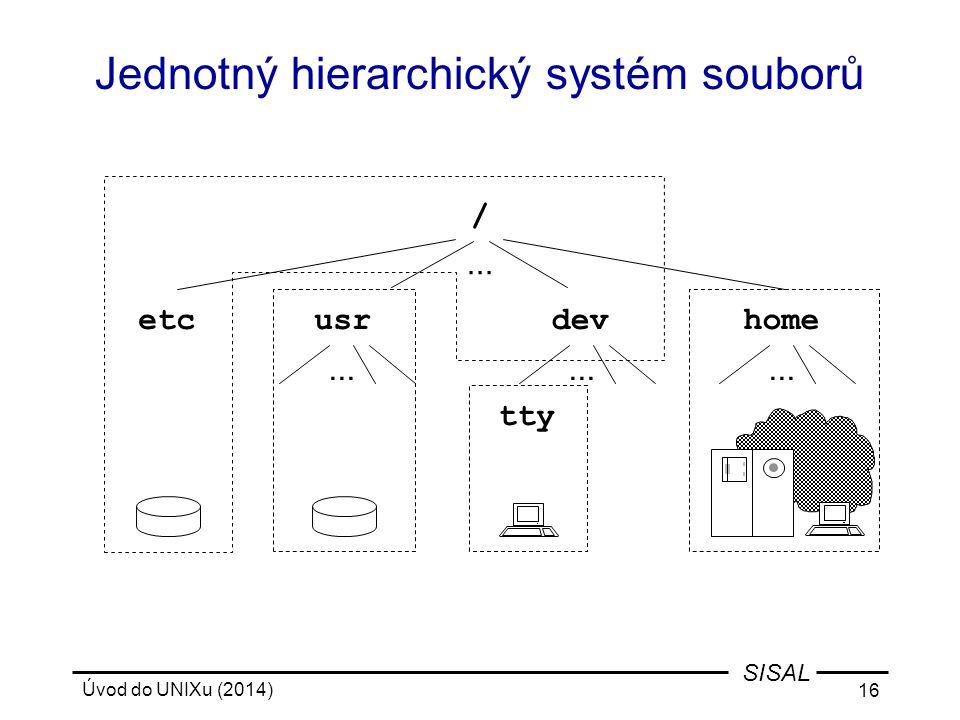 Úvod do UNIXu (2014) 16 SISAL Jednotný hierarchický systém souborů / etcdevusrhome tty...
