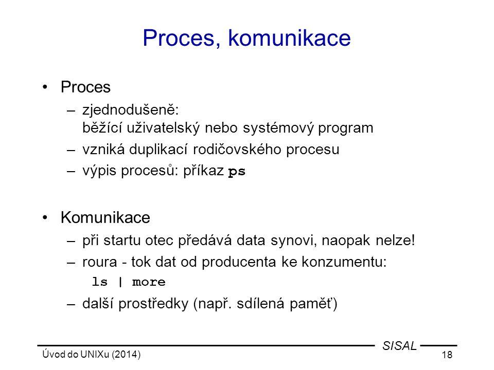 Úvod do UNIXu (2014) 18 SISAL Proces, komunikace Proces –zjednodušeně: běžící uživatelský nebo systémový program –vzniká duplikací rodičovského proces