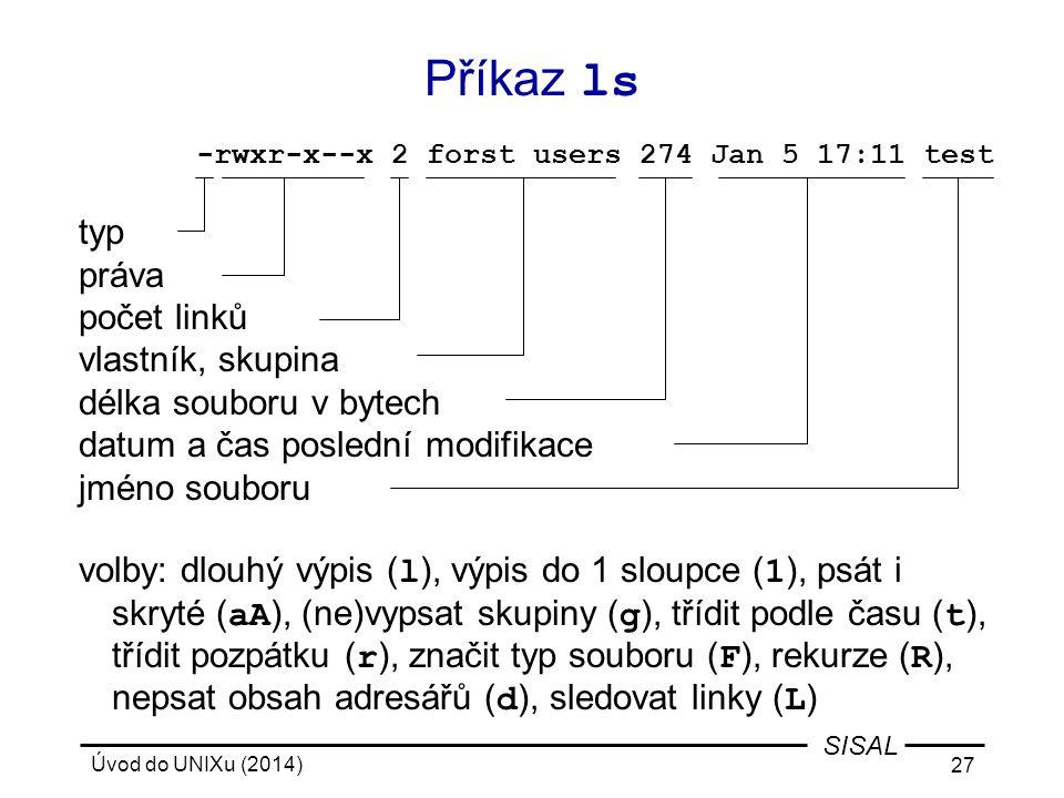 Úvod do UNIXu (2014) 27 SISAL typ práva počet linků vlastník, skupina délka souboru v bytech datum a čas poslední modifikace jméno souboru volby: dlou