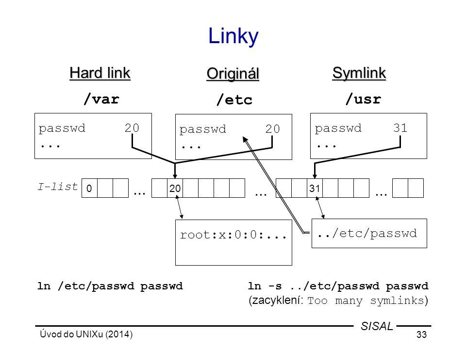 Úvod do UNIXu (2014) 33 SISAL Linky root:x:0:0:...../etc/passwd ln -s../etc/passwd passwd (zacyklení: Too many symlinks ) ln /etc/passwd passwd 0 I-li
