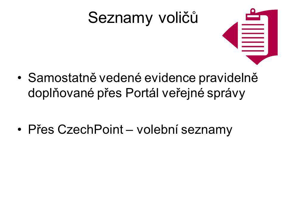 Seznamy voličů Samostatně vedené evidence pravidelně doplňované přes Portál veřejné správy Přes CzechPoint – volební seznamy