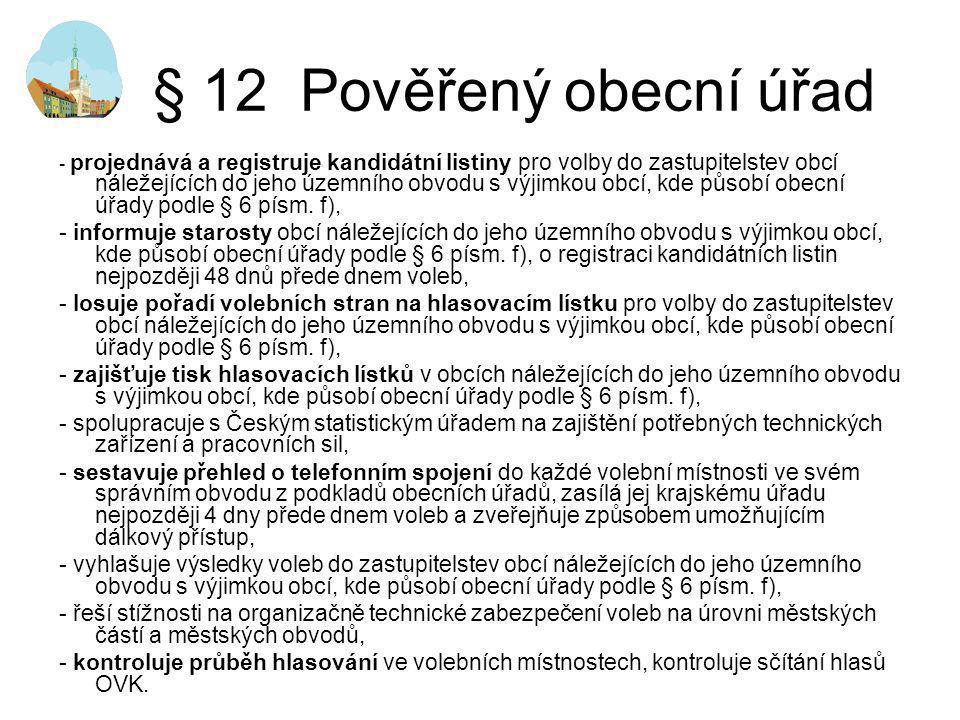 § 12 Pověřený obecní úřad - projednává a registruje kandidátní listiny pro volby do zastupitelstev obcí náležejících do jeho územního obvodu s výjimko