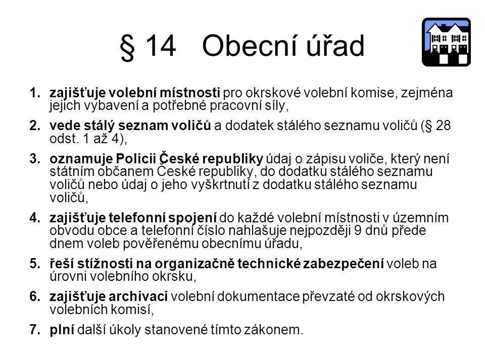 § 14 Obecní úřad 1.zajišťuje volební místnosti pro okrskové volební komise, zejména jejich vybavení a potřebné pracovní síly, 2.vede stálý seznam voli