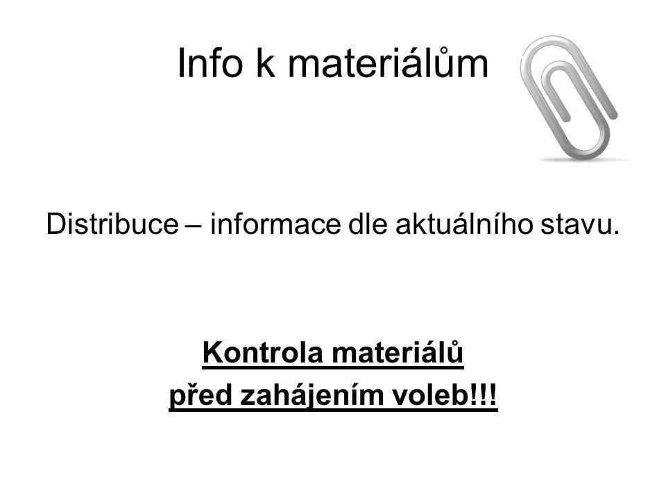 Info k materiálům Distribuce – informace dle aktuálního stavu. Kontrola materiálů před zahájením voleb!!!