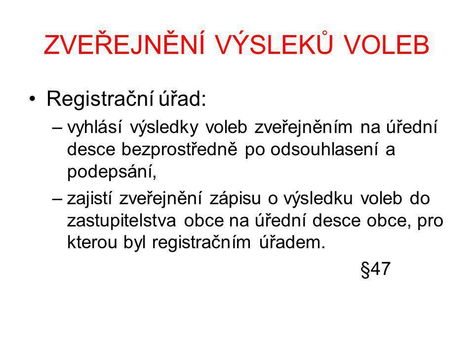 ZVEŘEJNĚNÍ VÝSLEKŮ VOLEB Registrační úřad: –vyhlásí výsledky voleb zveřejněním na úřední desce bezprostředně po odsouhlasení a podepsání, –zajistí zve