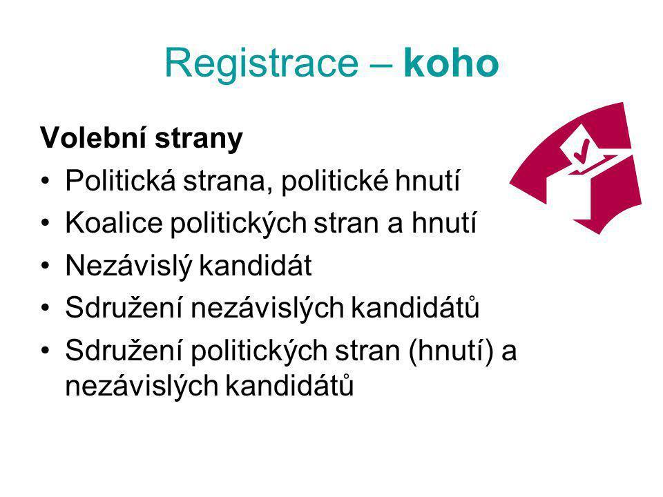 Registrace – koho Volební strany Politická strana, politické hnutí Koalice politických stran a hnutí Nezávislý kandidát Sdružení nezávislých kandidátů