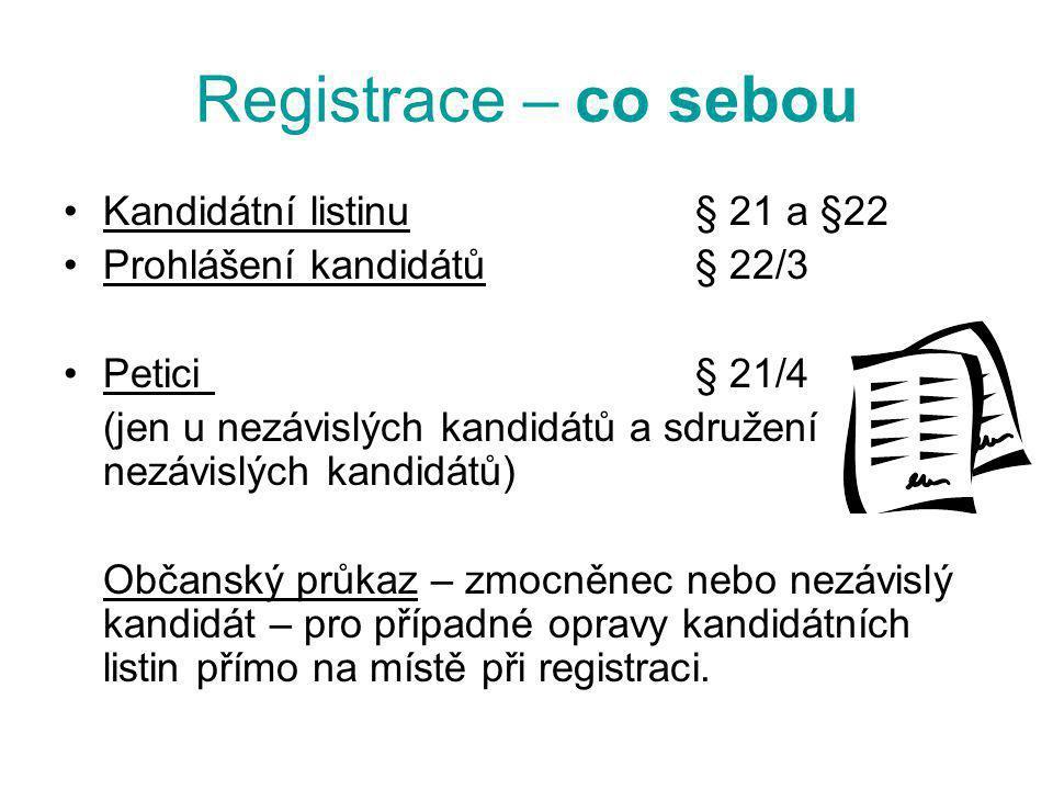 Registrace – co sebou Kandidátní listinu § 21 a §22 Prohlášení kandidátů § 22/3 Petici § 21/4 (jen u nezávislých kandidátů a sdružení nezávislých kand