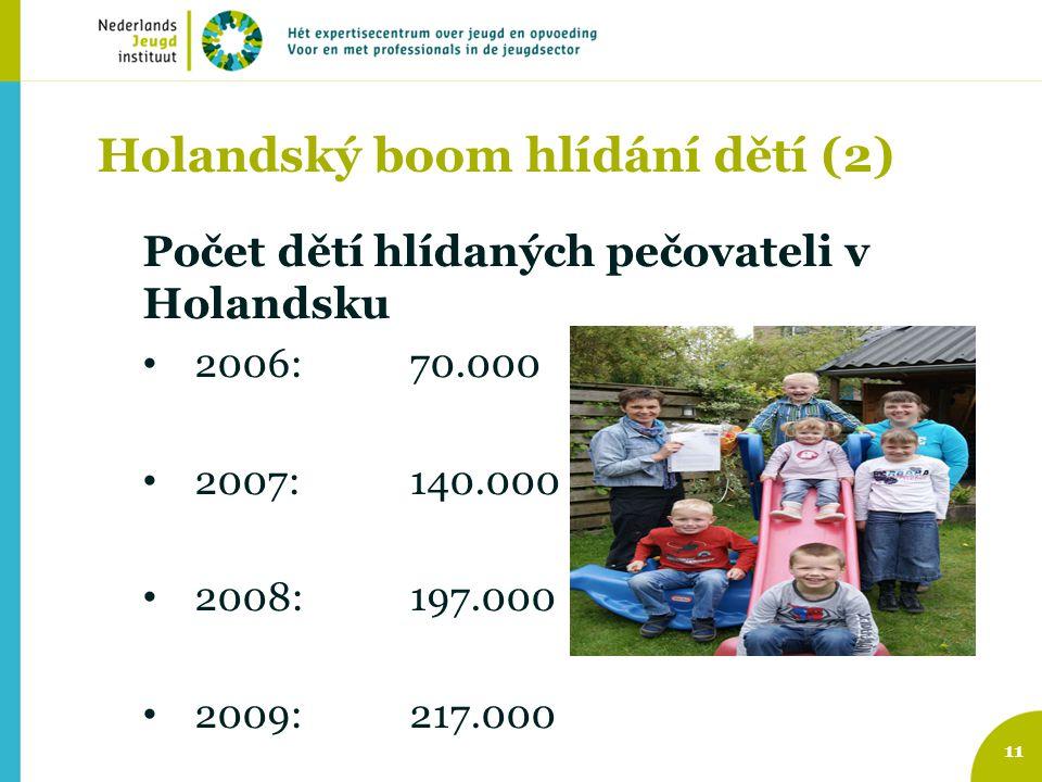 Holandský boom hlídání dětí (2) Počet dětí hlídaných pečovateli v Holandsku 2006: 70.000 2007: 140.000 2008:197.000 2009: 217.000 11
