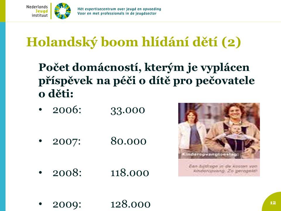 Holandský boom hlídání dětí (2) Počet domácností, kterým je vyplácen příspěvek na péči o dítě pro pečovatele o děti: 2006: 33.000 2007: 80.000 2008:11