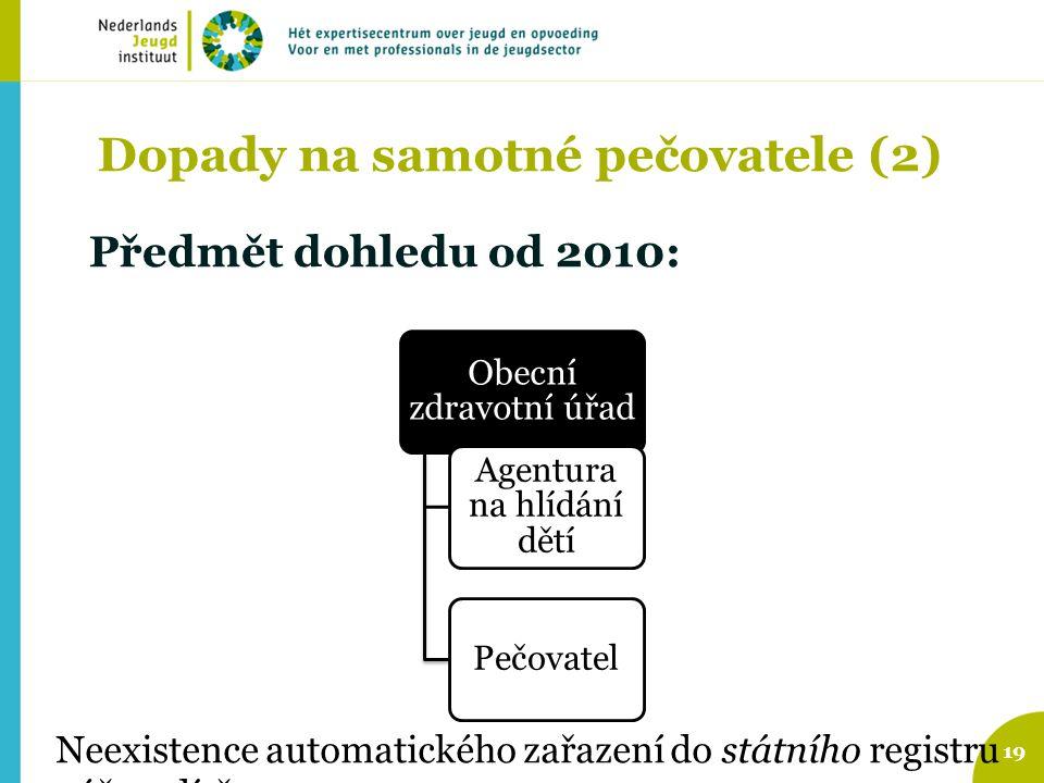 Dopady na samotné pečovatele (2) Předmět dohledu od 2010: 19 Obecní zdravotní úřad Agentura na hlídání dětí Pečovatel Neexistence automatického zařaze