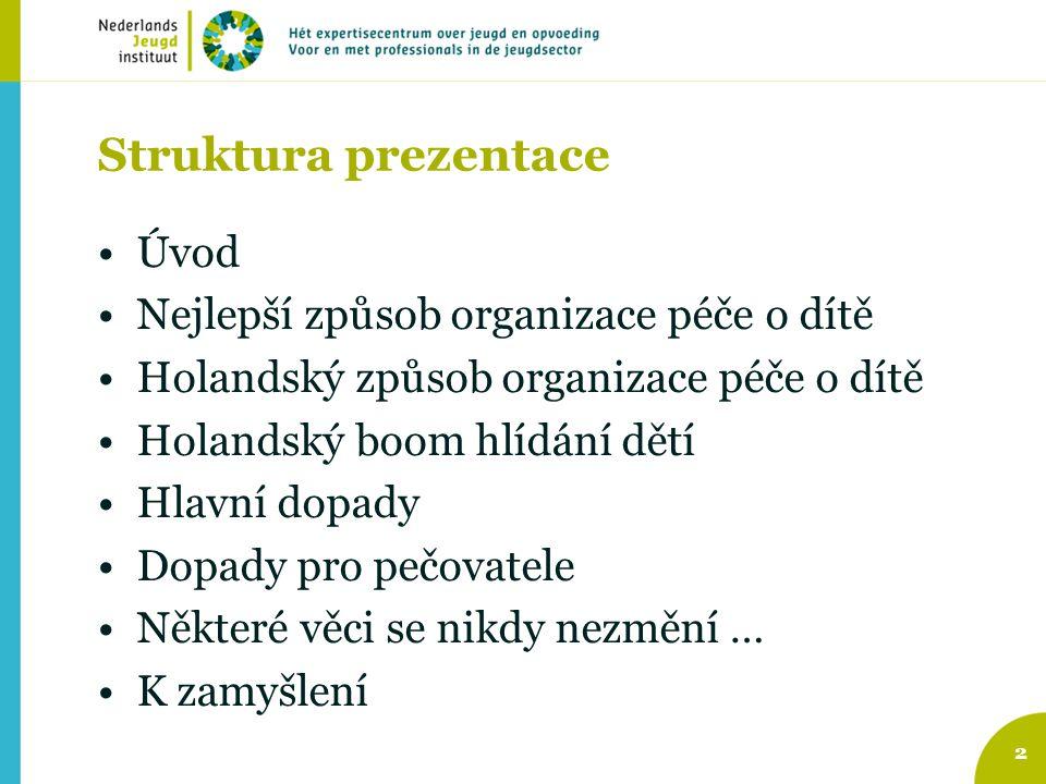 Struktura prezentace Úvod Nejlepší způsob organizace péče o dítě Holandský způsob organizace péče o dítě Holandský boom hlídání dětí Hlavní dopady Dop