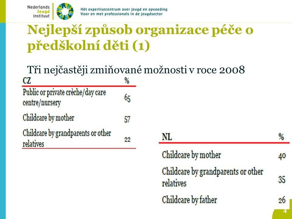 Nejlepší způsob organizace péče o předškolní děti (1) Tři nejčastěji zmiňované možnosti v roce 2008 4