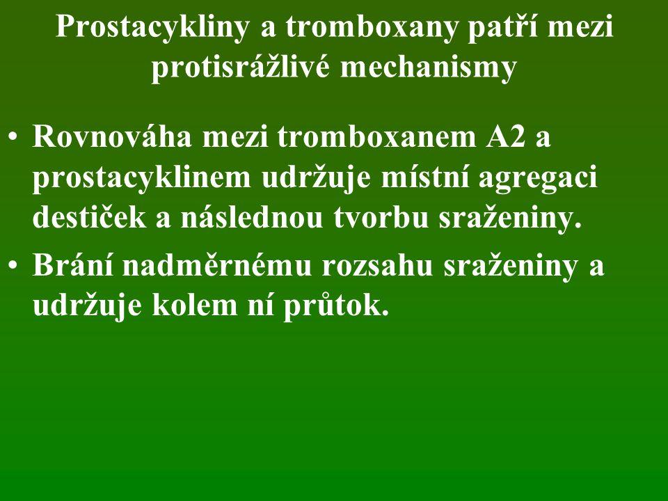 Prostacykliny a tromboxany patří mezi protisrážlivé mechanismy Rovnováha mezi tromboxanem A2 a prostacyklinem udržuje místní agregaci destiček a následnou tvorbu sraženiny.