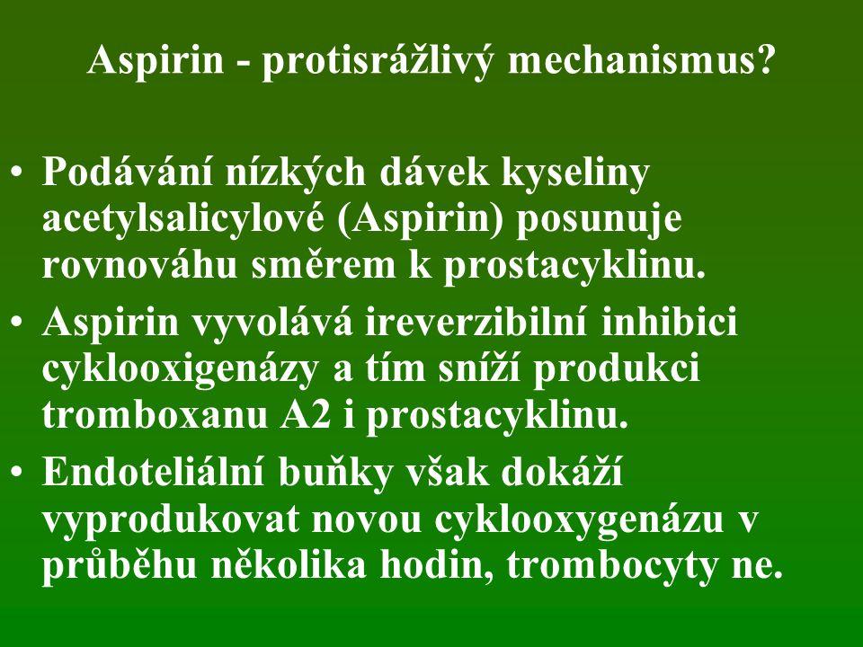Aspirin - protisrážlivý mechanismus.