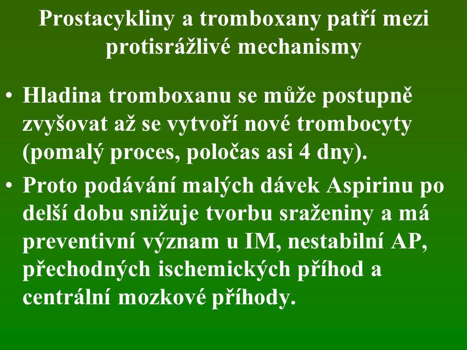 Prostacykliny a tromboxany patří mezi protisrážlivé mechanismy Hladina tromboxanu se může postupně zvyšovat až se vytvoří nové trombocyty (pomalý proc
