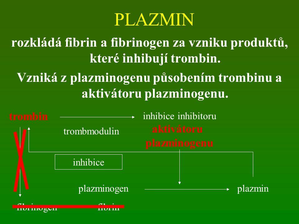 PLAZMIN rozkládá fibrin a fibrinogen za vzniku produktů, které inhibují trombin. Vzniká z plazminogenu působením trombinu a aktivátoru plazminogenu. t