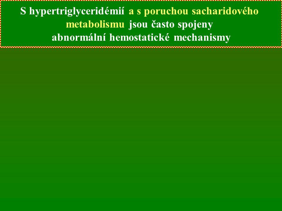 S hypertriglyceridémií jsou často spojeny abnormální hemostatické mechanismy S hypertriglyceridémií a s poruchou sacharidového metabolismu jsou často