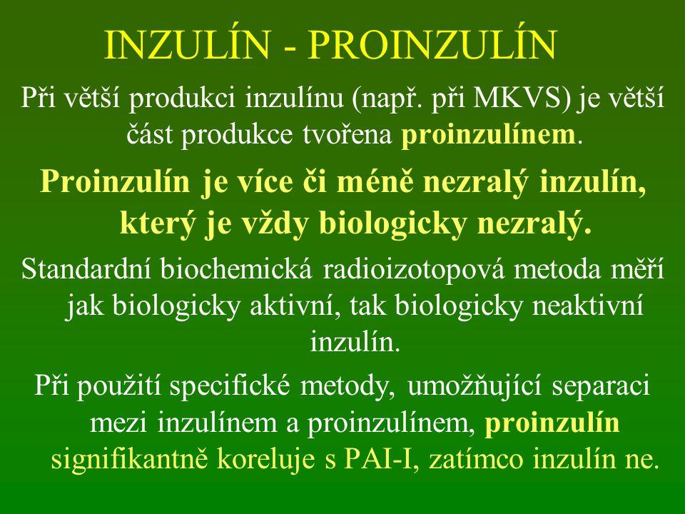 INZULÍN - PROINZULÍN Při větší produkci inzulínu (např. při MKVS) je větší část produkce tvořena proinzulínem. Proinzulín je více či méně nezralý inzu