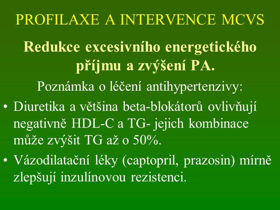 PROFILAXE A INTERVENCE MCVS Redukce excesivního energetického příjmu a zvýšení PA. Poznámka o léčení antihypertenzivy: Diuretika a většina beta-blokát