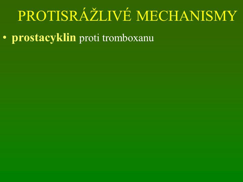 PROTISRÁŽLIVÉ MECHANISMY prostacyklin proti tromboxanu