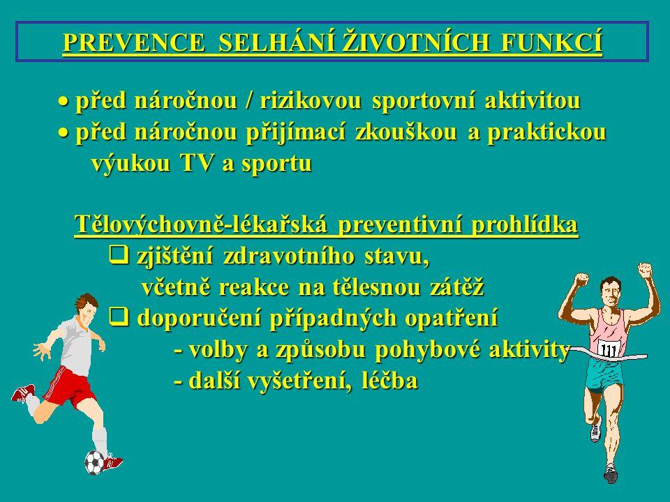 PREVENCE SELHÁNÍ ŽIVOTNÍCH FUNKCÍ  před náročnou / rizikovou sportovní aktivitou  před náročnou přijímací zkouškou a praktickou výukou TV a sportu T