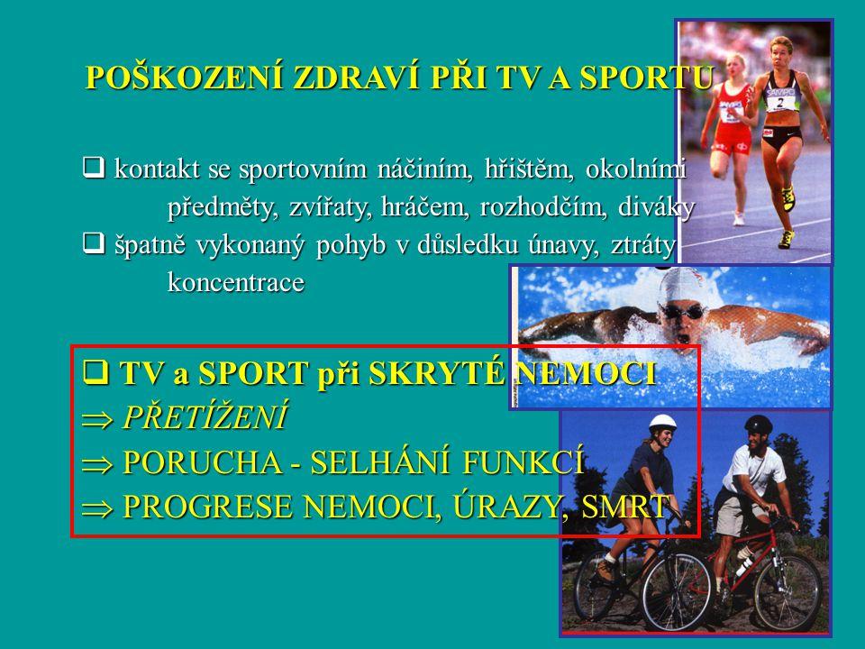 POŠKOZENÍ ZDRAVÍ PŘI TV A SPORTU q kontakt se sportovním náčiním, hřištěm, okolními předměty, zvířaty, hráčem, rozhodčím, diváky  špatně vykonaný poh