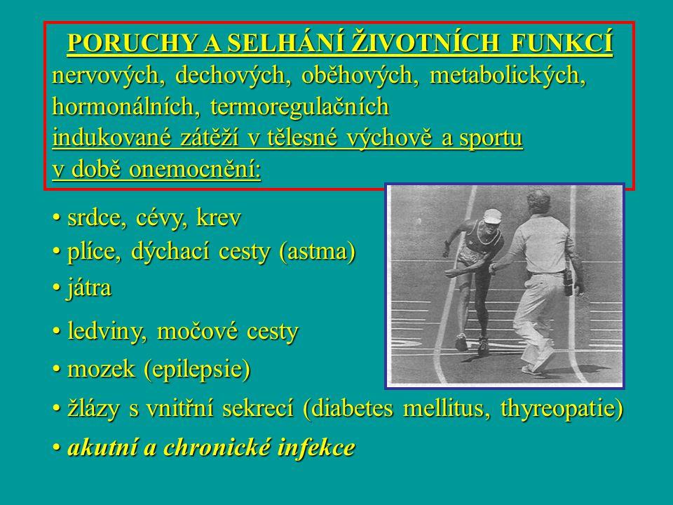 PORUCHY A SELHÁNÍ ŽIVOTNÍCH FUNKCÍ nervových, dechových, oběhových, metabolických, hormonálních, termoregulačních indukované zátěží v tělesné výchově