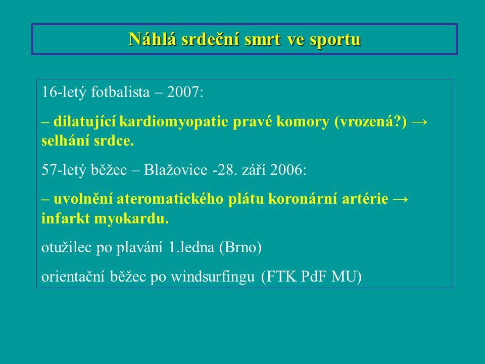 Náhlá srdeční smrt ve sportu 16-letý fotbalista – 2007: – dilatující kardiomyopatie pravé komory (vrozená?) → selhání srdce. 57-letý běžec – Blažovice