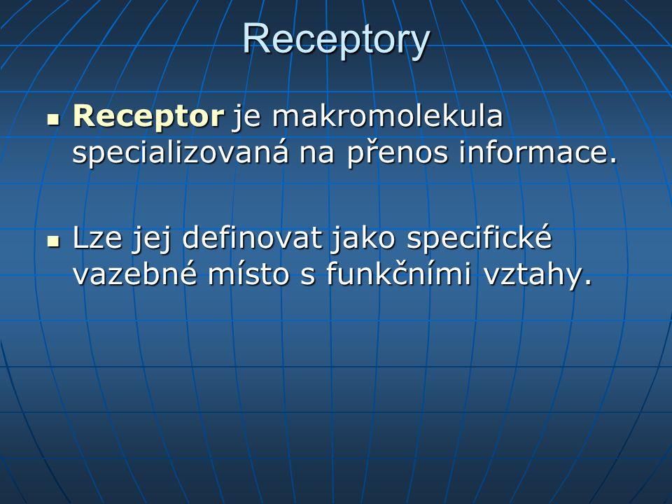 Receptory Receptor je makromolekula specializovaná na přenos informace. Receptor je makromolekula specializovaná na přenos informace. Lze jej definova