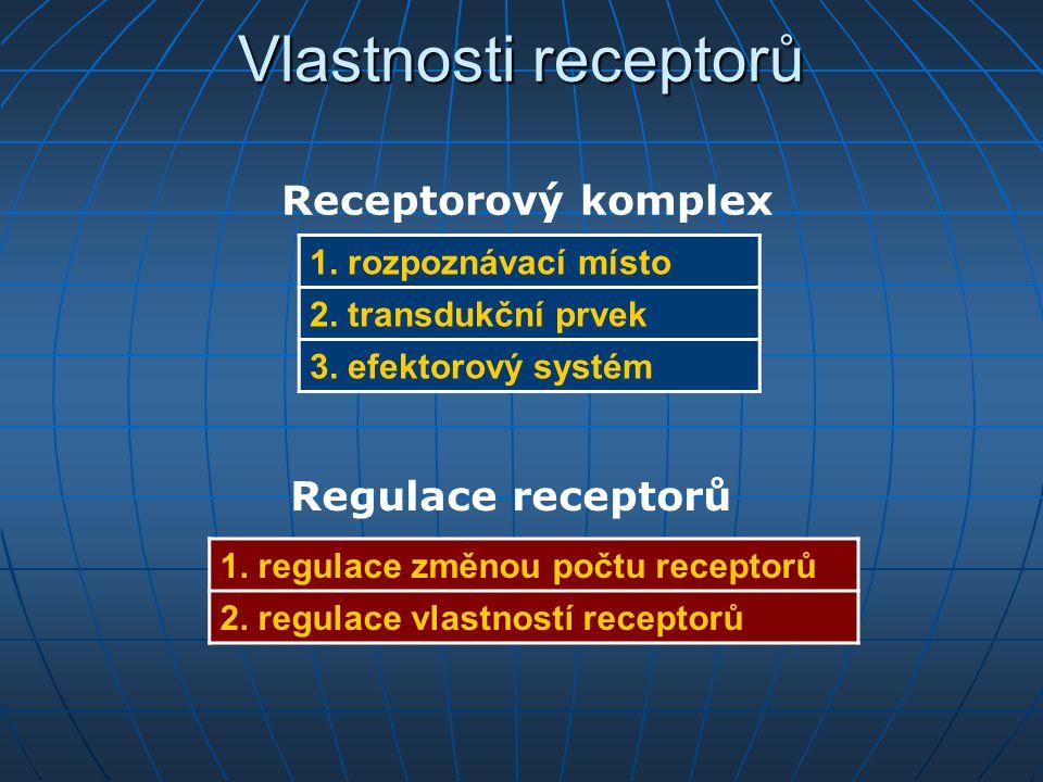 Vlastnosti receptorů 1. rozpoznávací místo 2. transdukční prvek 3. efektorový systém 1. regulace změnou počtu receptorů 2. regulace vlastností recepto
