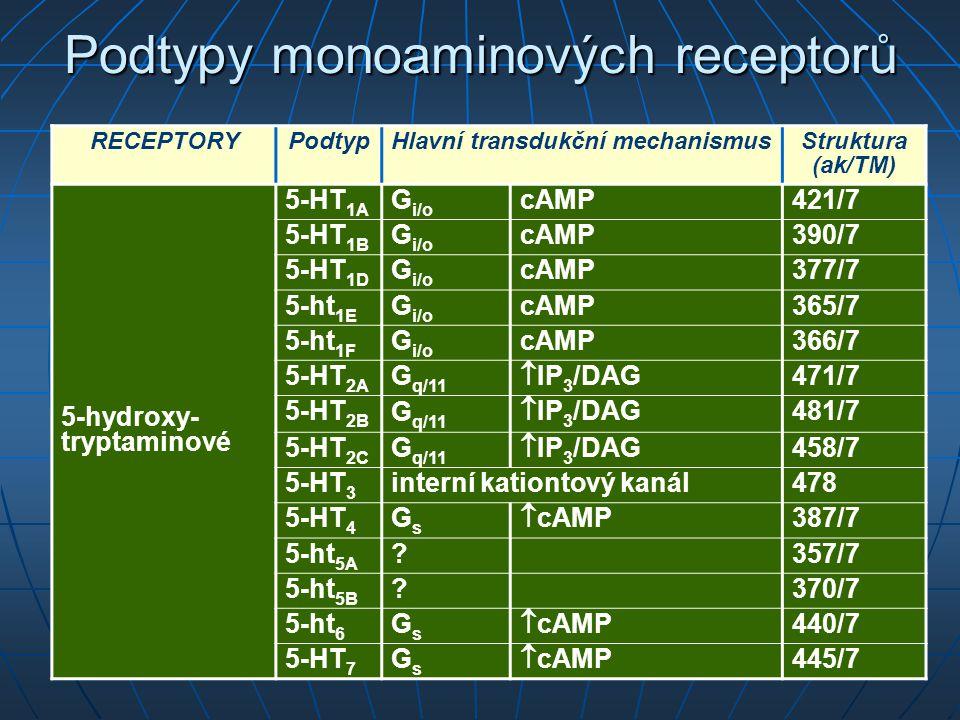 Podtypy monoaminových receptorů RECEPTORYPodtypHlavní transdukční mechanismusStruktura (ak/TM) 5-hydroxy- tryptaminové 5-HT 1A G i/o cAMP421/7 5-HT 1B