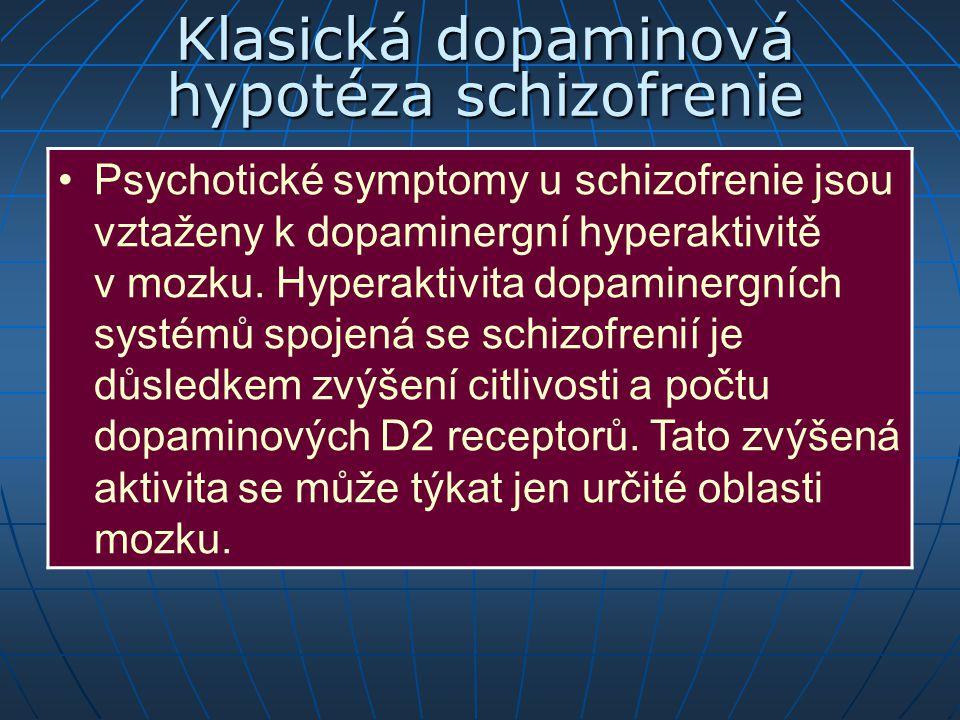 Klasická dopaminová hypotéza schizofrenie Psychotické symptomy u schizofrenie jsou vztaženy k dopaminergní hyperaktivitě v mozku. Hyperaktivita dopami