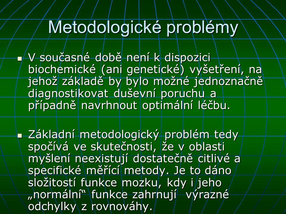 Některé biochemické a neuroendokrinní testy v psychiatrii hladiny psychofarmak hladiny psychofarmak hladiny neuromediátorů a jejich metabolitů hladiny neuromediátorů a jejich metabolitů neuroendokrinní parametry neuroendokrinní parametry aktivita enzymů podílejících se na syntéze a metabolismu neuromediátorů aktivita enzymů podílejících se na syntéze a metabolismu neuromediátorů vlastnosti receptorových systémů vlastnosti receptorových systémů zpětné vychytávání uvolněných neuromediátorů zpětné vychytávání uvolněných neuromediátorů