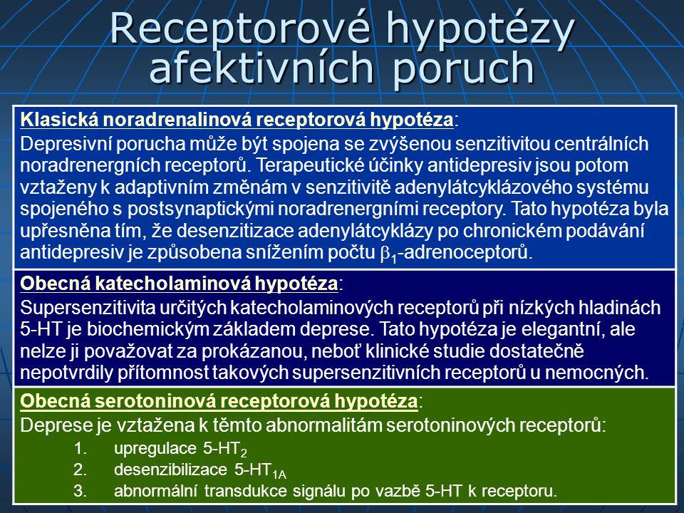 Receptorové hypotézy afektivních poruch Klasická noradrenalinová receptorová hypotéza: Depresivní porucha může být spojena se zvýšenou senzitivitou ce